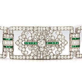 Platinum Diamond Emerald Bracelet