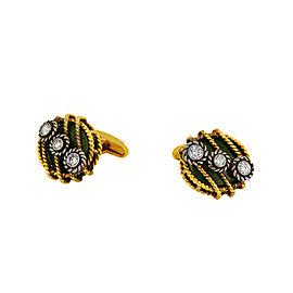 David Webb Yellow Gold Green Enamel &Diamond Cufflinks