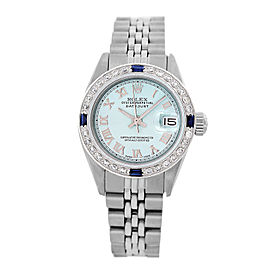 Rolex Lady Datejust Stainless Steel Blue Diamond Dial and Bezel 26mm Watch