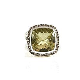 David Yurman Sterling Silver .39tcw 14mm Lemon Citrine Diamond Albion Ring