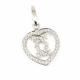 Cartier White Gold 18K, Diamond Double C Heart Logo Necklace Pendant Top Charm CHAT-107