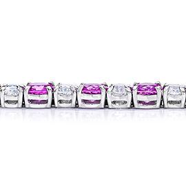 Platinum 12.71ctw. Sapphire 8.21ctw. Diamond Bracelet