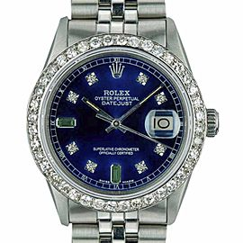 Rolex Datejust 16014 Stainless Steel / 18K White Gold with Blue Dial Vintage 36mm Mens Watch