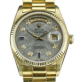 Rolex Day-Date 18038 18K Yellow Gold with Custom Meteorite Dial with Diamonds and Sapphire Automatic Vintage 36mm Mens Watch