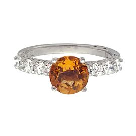 Tacori 18k White Gold Citrine .65ctw Diamond Ring Size 6.5