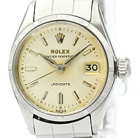 Vintage ROLEX Oyster Perpetual Date 6519 Steel Automatic Ladies Watch