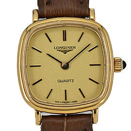 LONGINES Gold Dial Gold Plated/Leather Quartz Women's Watch