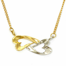 Courreges 18k Gold Open Heart 2 Color Necklace CHAT-800