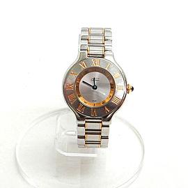 Cartier 21 Stainless Gold Plated Quartz Wrist Watch TBRK-347
