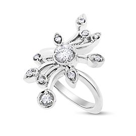 14k White Gold 0.50ct. Diamond Flower Cocktail Ring Size 7
