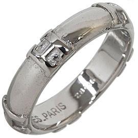 """Hermes Fidelite """"H"""" Logo Band Ring in 18K White Gold US4.75"""