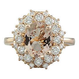 3.90 Carat Morganite 14K Rose Gold Diamond Ring