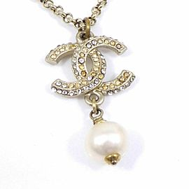 CHANEL Gold-tone Fake Pearls Coco Mark CC Logo Necklace
