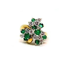 18K Yellow Gold Emerald Diamond Cluster Ring Size 8
