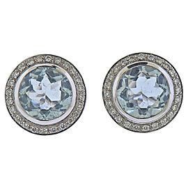 Blue Topaz Diamond Gold Earrings