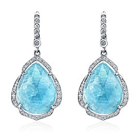 Penny Preville 18K White Gold with Aquamarine & Diamond Earrings