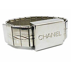 CHANEL Silver-tone Logo Bangle Bracelet CHAT-41