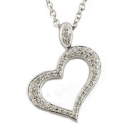 PIAGET 18K white Gold Diamond 47 Open heart pave Necklace CHAT-764