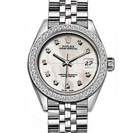 Rolex Datejust Stainless Steel with Custom Bezel and White MOP Dial 36mm Mens Watch