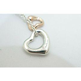 Tiffany & Co. Silver & 18K Rose Gold Peretti Mini Open Double Heart Necklace