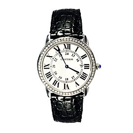 Cartier Stainless Steel Leather & Diamond 36mm Watch