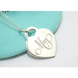 Tiffany & Co. Sterling Silver Mom Heart Pendant Necklace