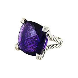 David Yurman Sterling Silver Amethyst & 0.10ct Diamond Chatelaine Ring Sz 6.5