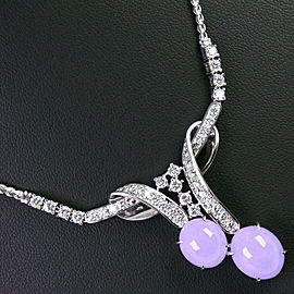 Platinum/Lavender flower/diamond Necklace