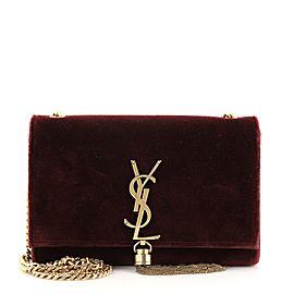Saint Laurent Classic Monogram Tassel Crossbody Bag Velvet Small