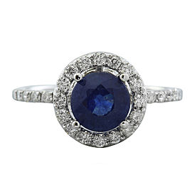 2.61 Carat Sapphire 14K White Gold Diamond Ring