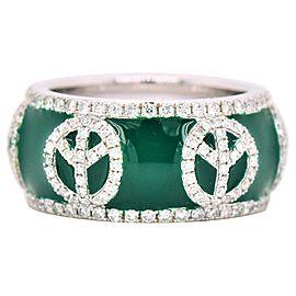 "Green Enamel ""Peace Symbols"" Diamond Ring 18 Karat White Gold"