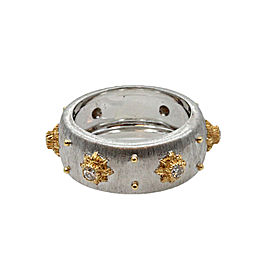 Buccellati 18K White and Yellow Gold 0.24 Ct Diamond Macri Band Ring Size 6.5