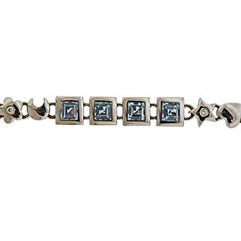 Gold Blue Topaz Diamond Bracelet