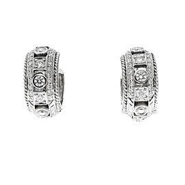 Penny Preville 18K White Gold Huggie .58ctw Diamond Earrings.