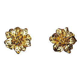 Kenneth Jay Lane 18K Yellow Gold Plated Metal Flower Clip-On Earrings