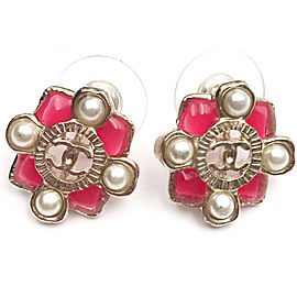Chanel Gold Tone Hardware and Red Enamel with Simulated Glass Pearl Piercing Earrings