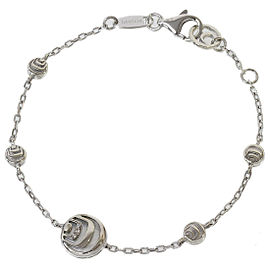 Damiani 925 Sterling Silver Diamonds & Shell Chain Bracelet
