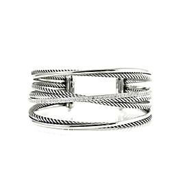 David Yurman Sterling Silver 14K .65tcw 4-Row Pave Diamond Crossover Cuff Bangle Bracelet