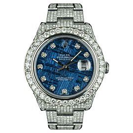 Rolex Datejust II 116334 Stainless Steel Custom Blue Meteorite Dial Diamond Automatic 41mm Mens Watch
