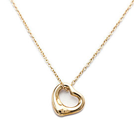 Polished TIFFANY & co 18K Pink Gold Open Heart by Elsa Peretti Necklace HK-2074