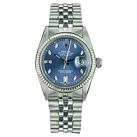 Rolex Datejust 1601 Stainless Steel and White Gold Diamond 36mm Automatic Mens Vintage Watch