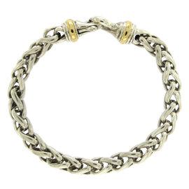 David Yurman 925 Sterling Silver and 18K Yellow Gold Wheat Chain Bracelet