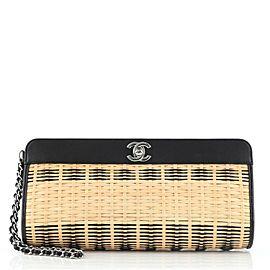 Chanel CC Wristlet Clutch Rattan and Calfskin