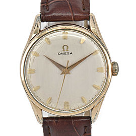 OMEGA Vintage Silver Dial GP/Leather Cal.284 Hand Winding Men's Watch