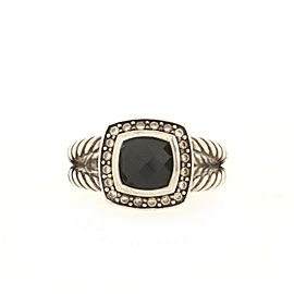 David Yurman Albion Ring Sterling Silver with Black Onyx and Diamonds Small