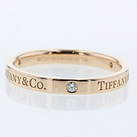 TIFFANY & Co. 18k Rose Gold/diamond Flat band Ring TBRK-616