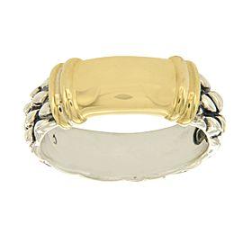 David Yurman 925 Sterling Silver & 18K Yellow Gold Ring Size 9.5