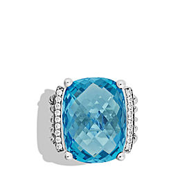 David Yurman Wheaton Sterling Silver Blue Topaz and 0.23 Ct Diamond Ring Size 6.5