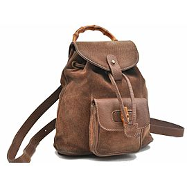 GUCCI Bamboo Backpack Suede Leather Brown