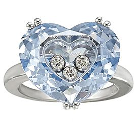 Chopard 18K White Gold Blue Topaz and Diamond Ring Size 5.75